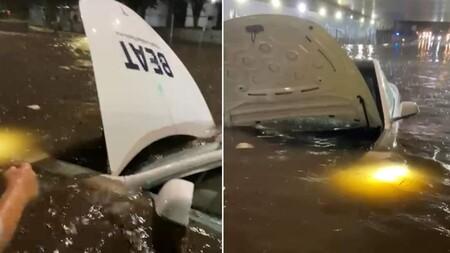Las lluvias de CDMX atrapan a un Tesla de Beat: así es como un auto de casi un millón de pesos se ve nadando en Tlalpan