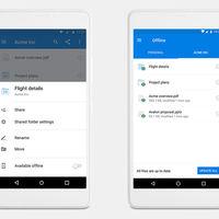 Dropbox permite descargar y tener sincronizadas carpetas en local en móviles, pero solo si pagas