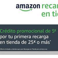Cinco euros de regalo en Amazon con tu primera recarga en tienda