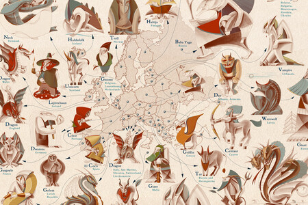 La criatura mitológica más famosa de cada país del mundo, en un precioso mapa