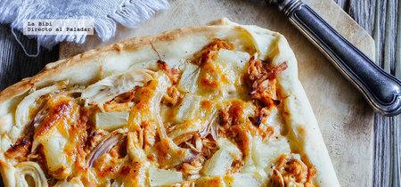 Pizza hawaiana con pollo BBQ. Receta fácil