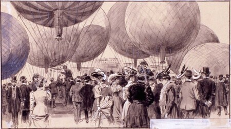 Fiesta De Aeroestacion Detalle 8 11 1905 Rabasf Dibujo Por Mariano Pedrero