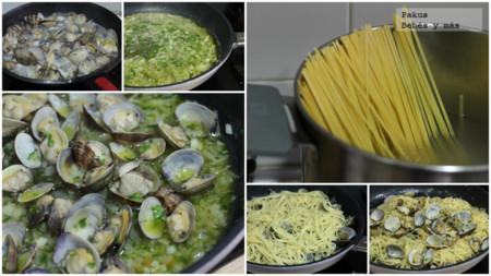 Almejas Espaguetis Pasos