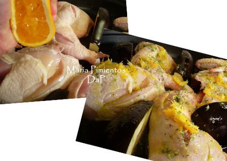 Pollo a la naranja asado con berenjena