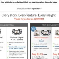¿No querías caldo? El Washington Post bloquea a algunos internautas que bloquean anuncios