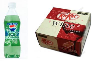 Kit Kat sabor a vino y Pepsi de pepino