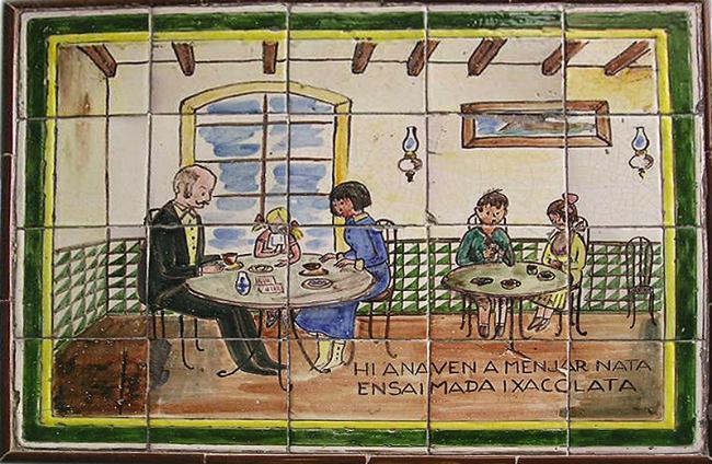 Mosaico en una chocolatería