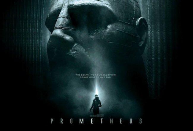 Imagen con el cartel de la película 'Prometheus'