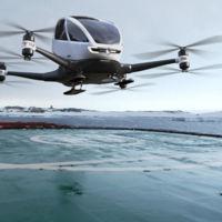 En el dron gigante de EHang hay espacio para una persona y promete llevarla a cualquier sitio sin piloto