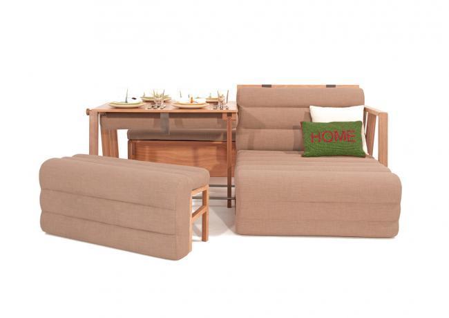 Un mueble que se convierte en mesa, sofá y cama