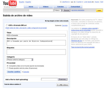 YouTube Uploader beta disponible