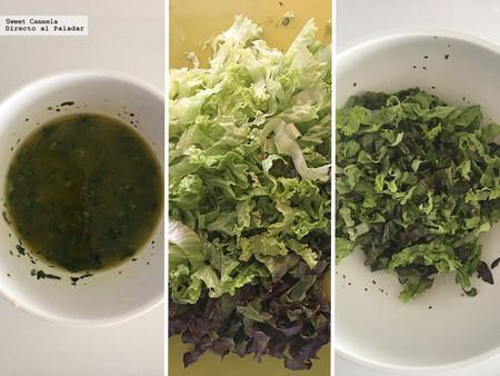 Ensalada de Lechuga, Aguacate Y Toronja con vinagreta de menta y aceitunas