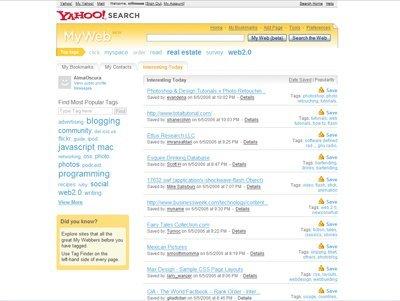 Yahoo! relanza MyWeb 2.0 usando Del.icio.us