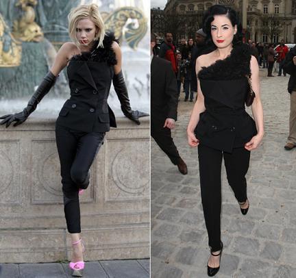Conjunto de Louis Vuitton: ¿Victoria Beckham o Dita von Teese?