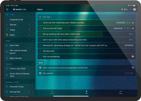 Zenkit To Do Screenshot Ipad Inbox Dark Mode Framed