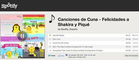 Spotify crea una lista de canciones de cuna para dar la bienvenida al hijo de Shakira y Piqué