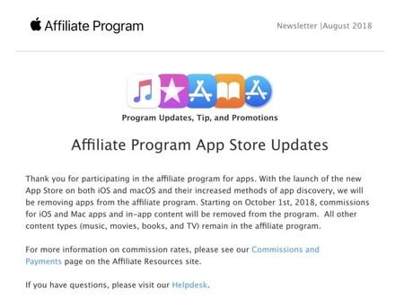 Email de comunicación de Apple del fin de programa de afiliados para el App Store