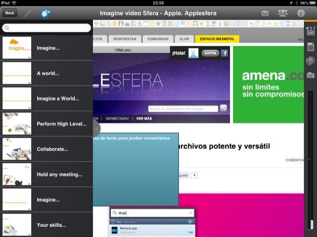 En esta imagen podéis ver un navegador lanzado desde la aplicación y, a la izquierda, la guía de la presentación que estamos haciendo
