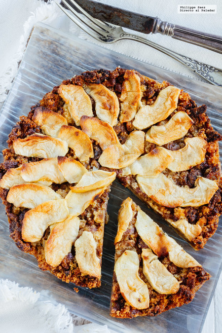 Tarta de manzana y dátiles. Receta fácil de postre