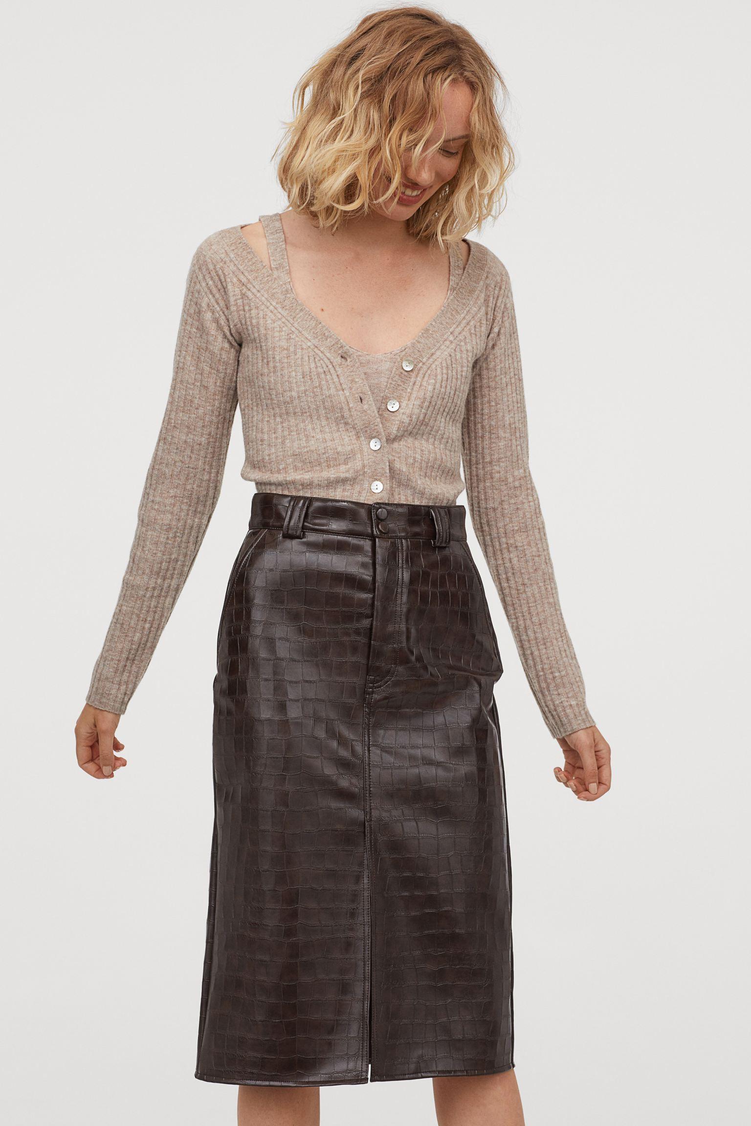 Falda de tubo con efecto cocodrilo