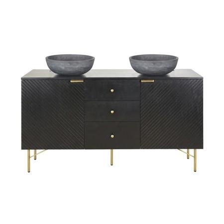 Mueble De Lavabo Doble Con 2 Puertas Y 3 Cajones Negro 1000 13 0 199219 1 1