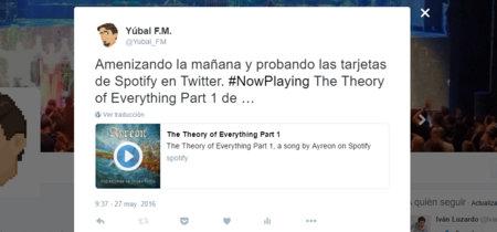 Twitter añade tarjetas de audio con las que escuchar canciones de Spotify en tu timeline