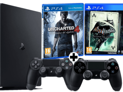 PS4 Slim + 2 DualShock 4 + Uncharted 4 + Batman por 299€ en MediaMarkt