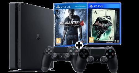 PS4 Slim + 2 DualShock 4 + Uncharted 4 + Batman por 299€ en MediaMarkt