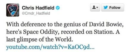 Chris Hadfield cierra su participación en la ISS con una emocionante versión de Space Oddity de Bowie