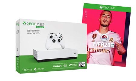 De nuevo en Amazon, con el pack Xbox One S All DIgital con FIFA 20 por 179,99 euros, te ahorras los 69,99 euros que cuesta el juego