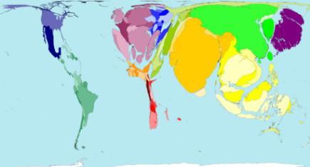 Un mapa del mundo según el volumen de motos