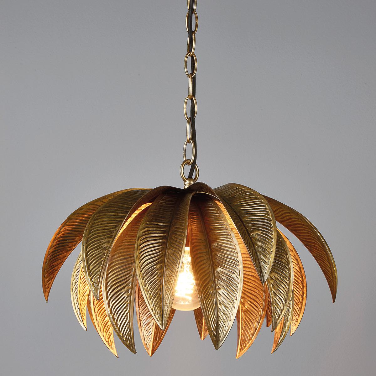 Lámpara tropical dorada