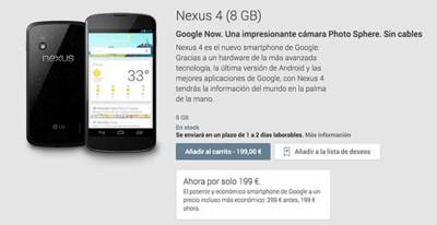 Google rebaja en cien euros el precio de Nexus 4