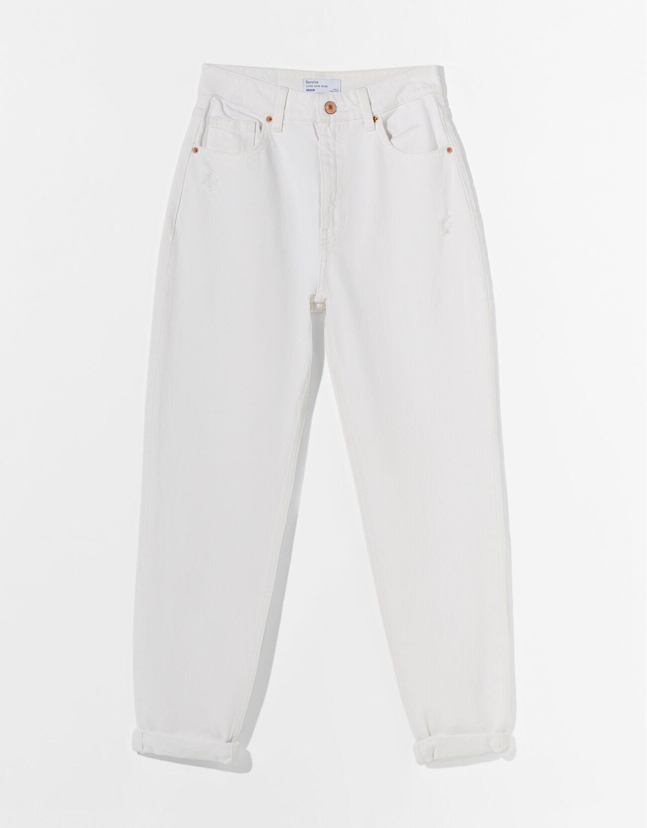 Mom jeans blancos