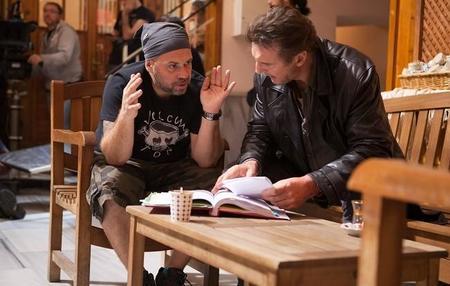 Olivier Megaton y Liam Neeson en el rodaje de