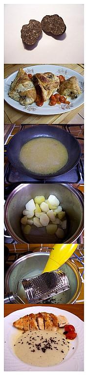 Pollo al horno con puré de patata y trufa negra. Receta