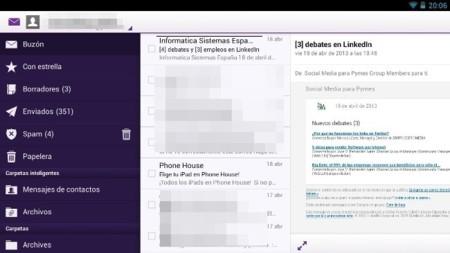 Yahoo Mail renueva su versión y la adapta a los tablets