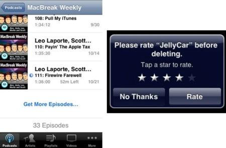 Firmware 2.2: Votaciones al eliminar una aplicación y descarga directa de Podcasts