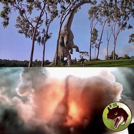El braquiosario en la película original y El reino caído