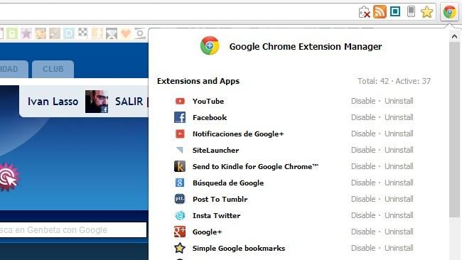Gestiona las extensiones y las pestañas que tienes abiertas en Chrome con Extension Manager