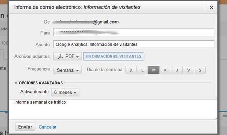 Google Analytics permite exportar los informes que genera en PDF y programar su envío por correo electrónico