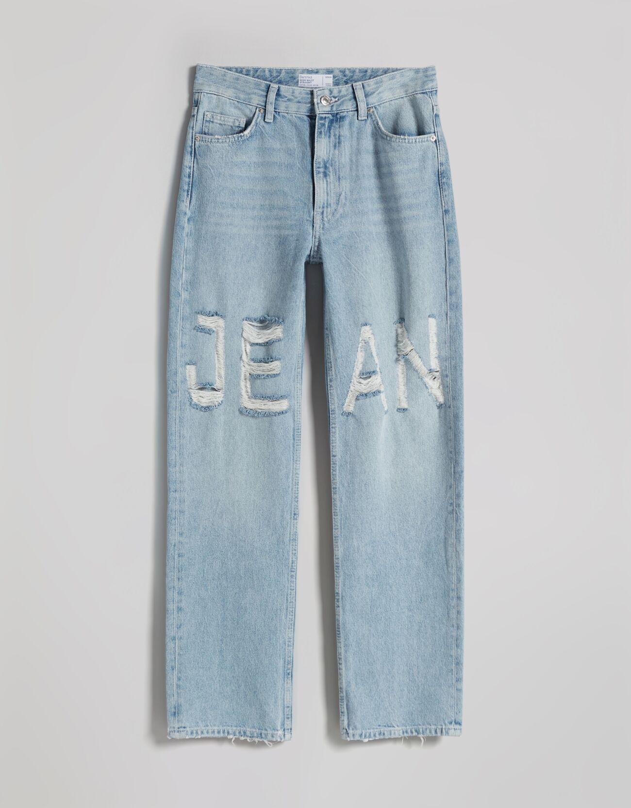 Jeans straight laser print.