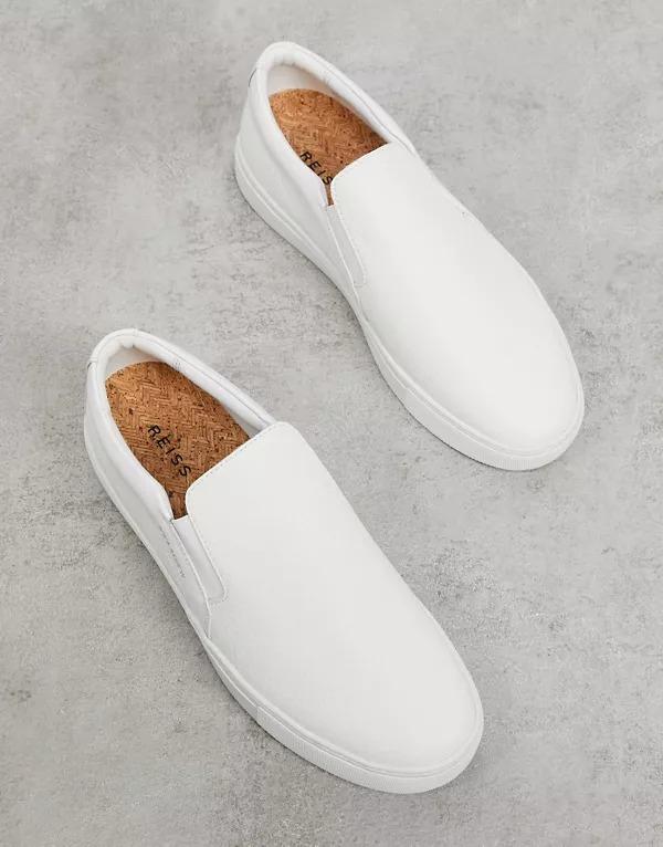 Zapatillas de lona sin cordones blancas Weston de Reiss