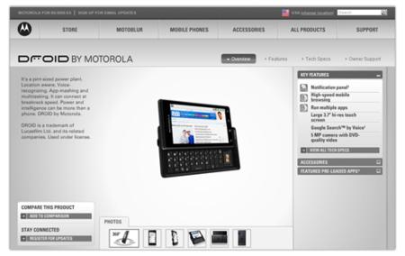 Motorola Droid aparece en el sitio oficial