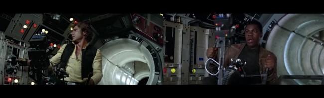 Harrison Ford y John Boyega en dos escenas de Star Wars