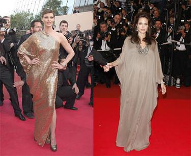 Angelina Jolie y Linda Evangelista de oro en Cannes para la premiere de Changeling