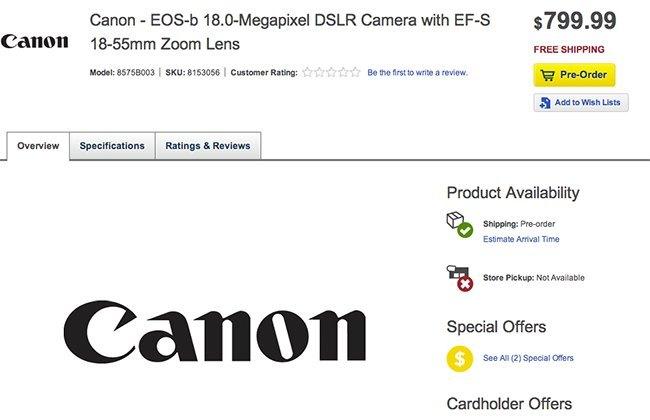Canon EOS-b DSLR leak