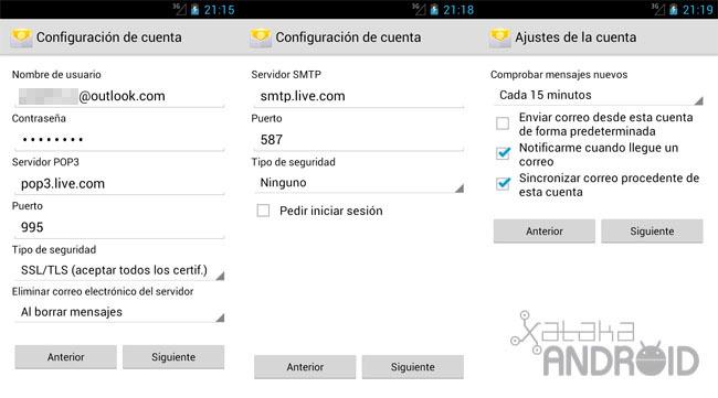 Añadir cuenta Outlook en Android
