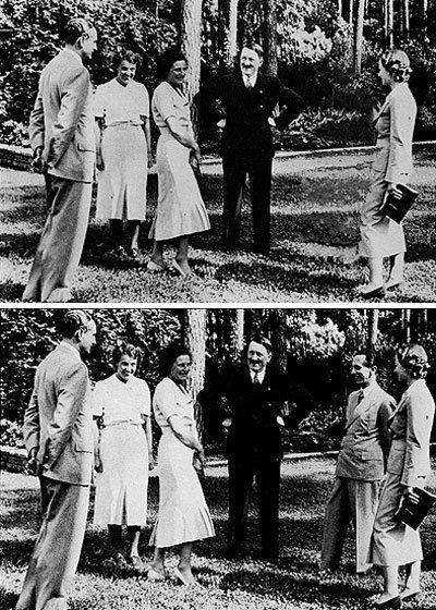 Goebbles es borrado de una foto junto a Hitler