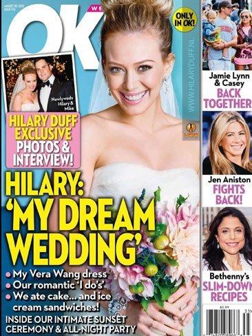 Por fin vemos en condiciones a Hilary Duff vestida de novia